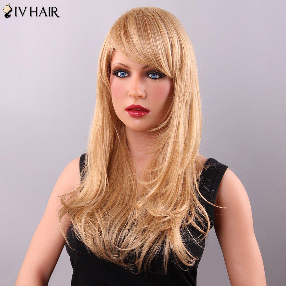 Vogue Long Layered Adduction Side Bang Women's Siv Human Hair Wig - BLONDE