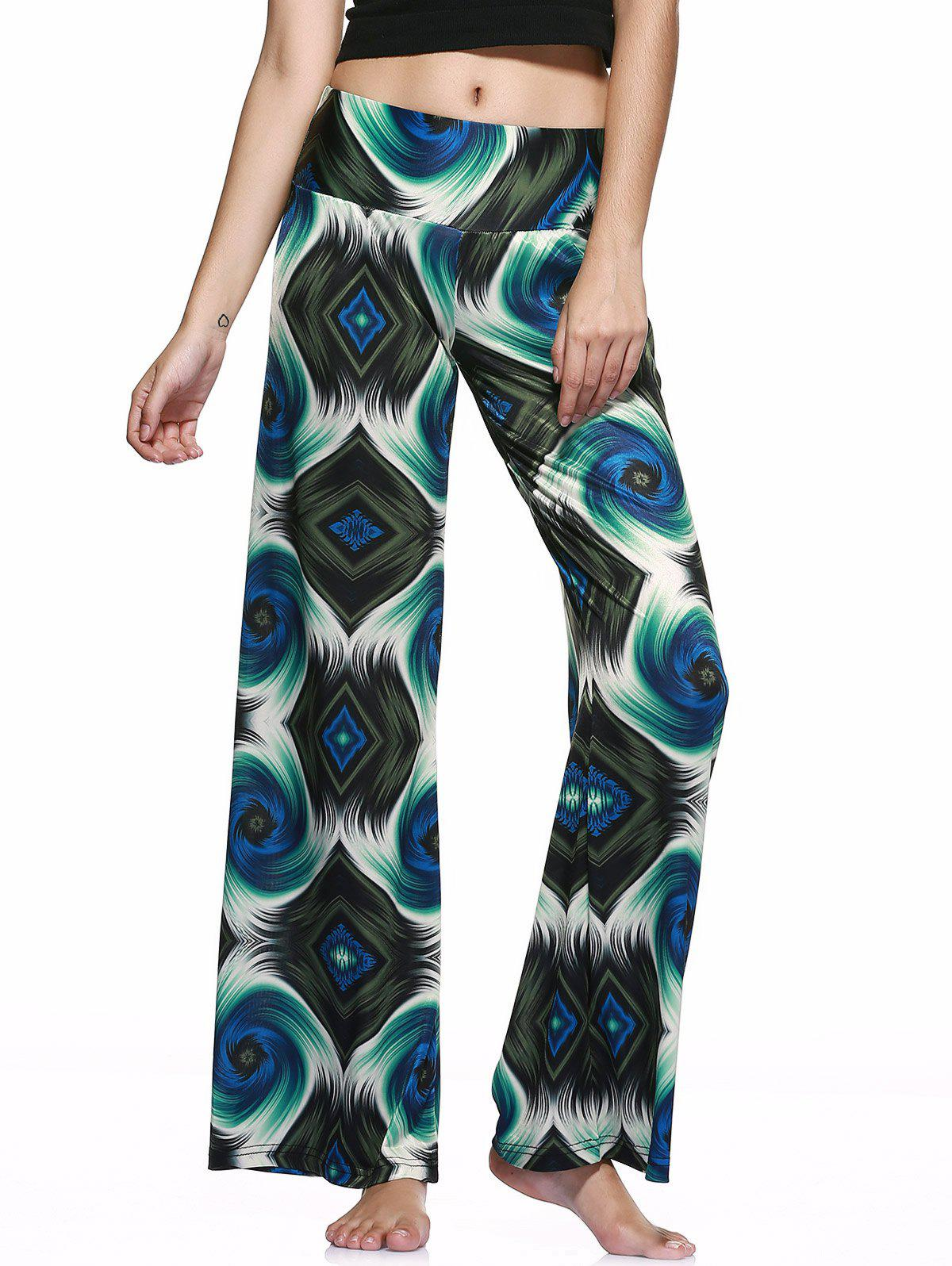 Casual Style Elastic Waist Printed Loose-Fitting Pants For Women - GREEN S