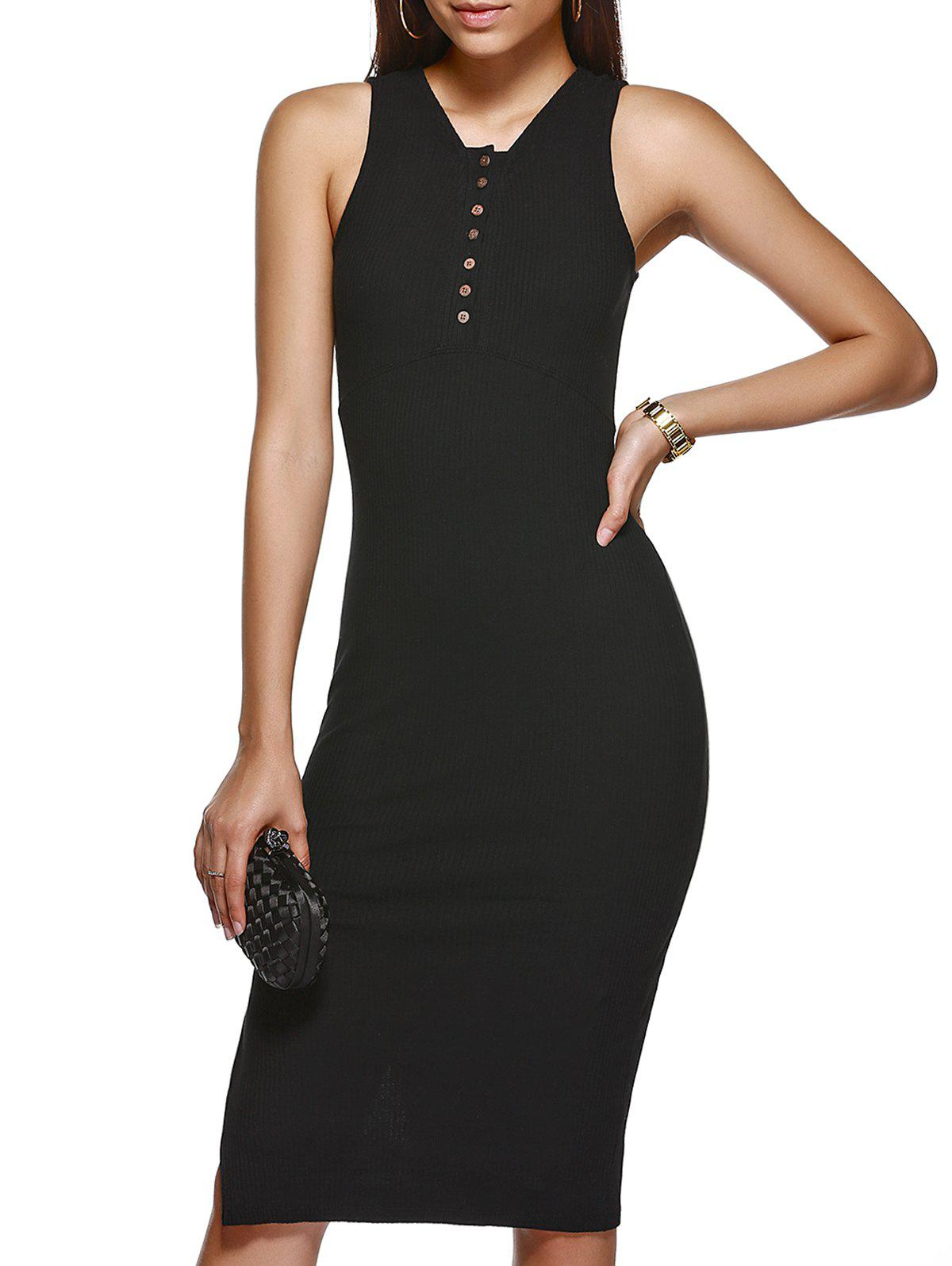 Trendy Solid Color Buttoned V Neck Bodycon Dress - BLACK ONE SIZE(FIT SIZE XS TO M)