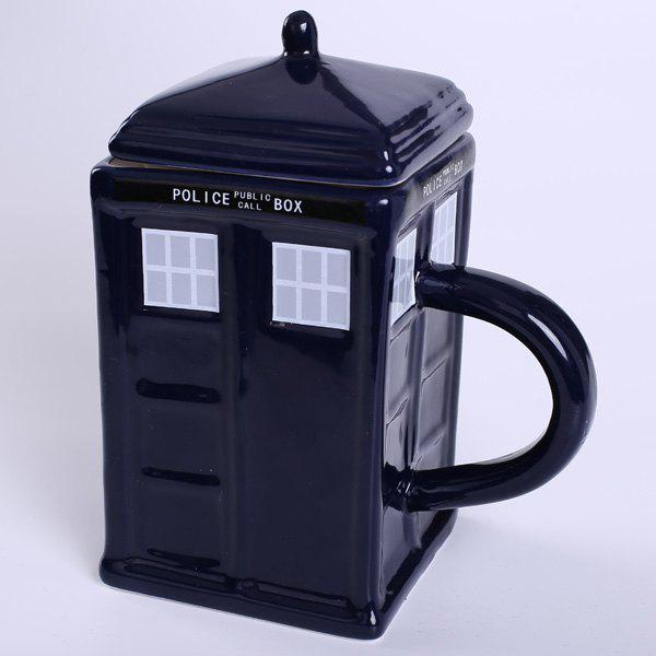 New House Design Handled Docto Who Tardis Coffee Tea Cup - BLUE