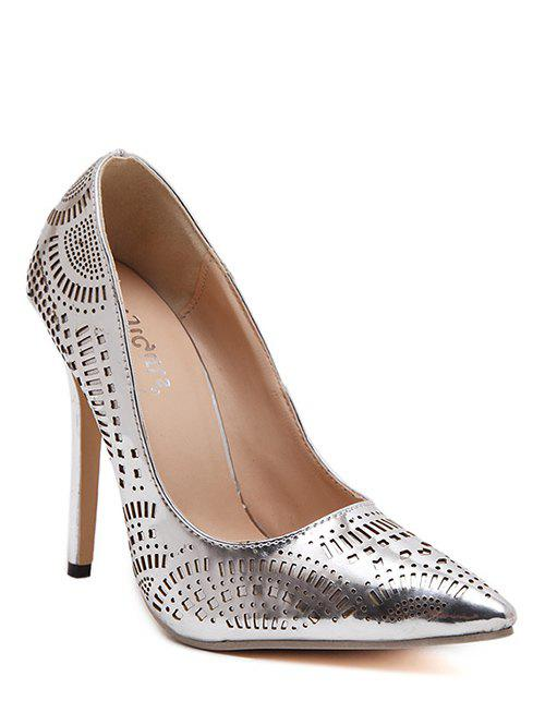 Trendy Pointed Toe and Hollow Out Design Women's Pumps - SILVER 37