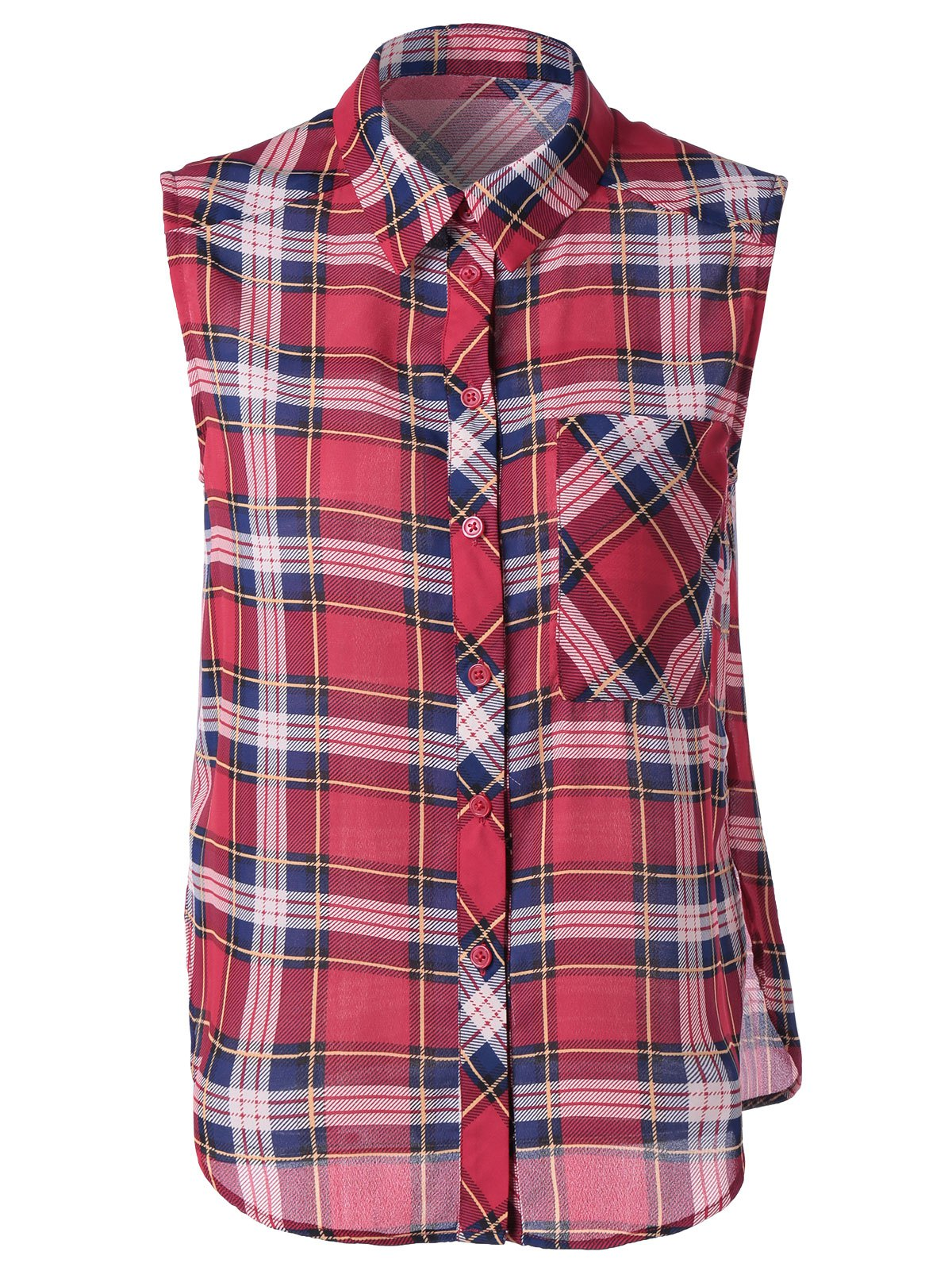 Preppy Women's Slimming Shirt Collar Checkered Print Blouse - RED XL