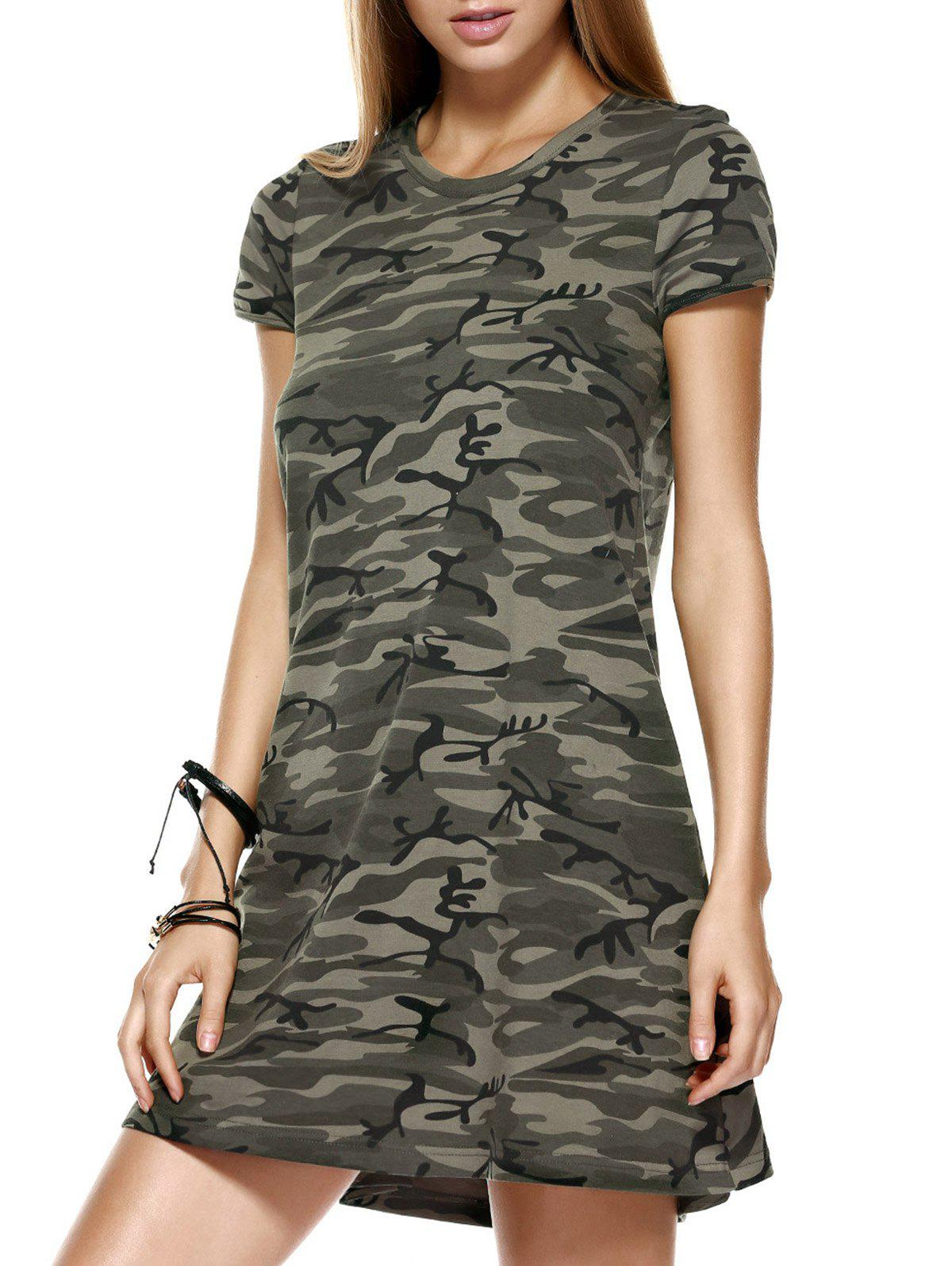 Fashionable Round Collar Camo Printing Short Sleeves Dress For Women - COLORMIX XL