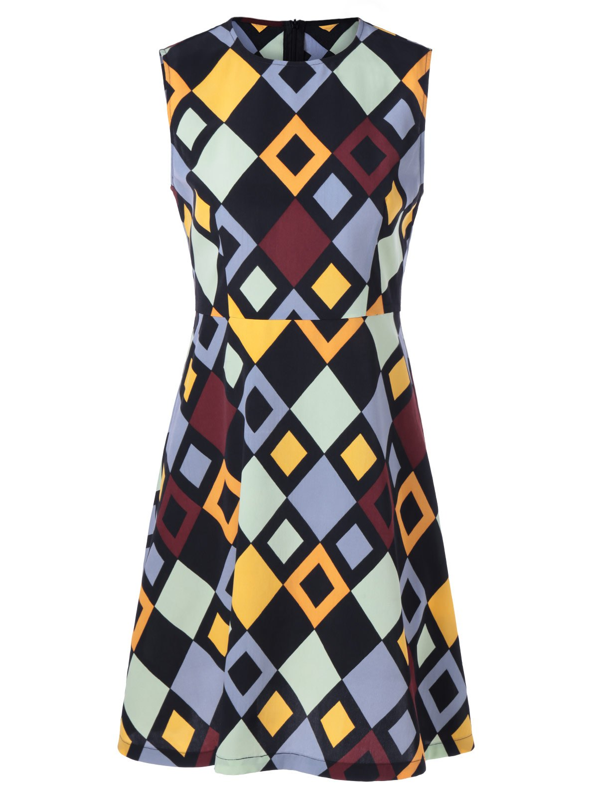 Fashionable Women's Fitted Round Neck Checkered Print Dress - COLORMIX XL