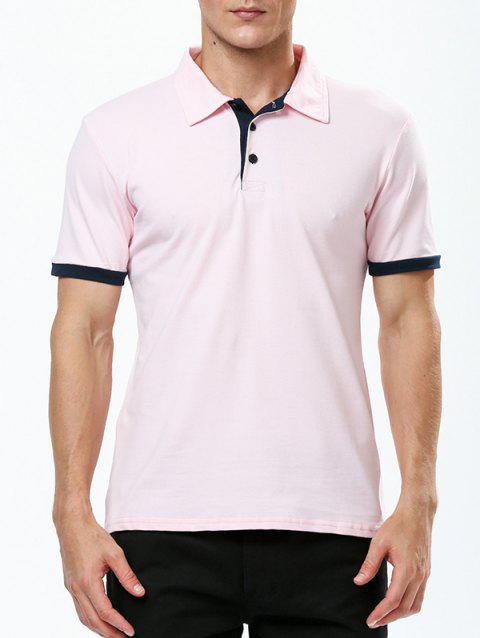 Refreshing Turn-down Collar Purfled Fitted Men's Short Sleeves T Shirt - PINK M