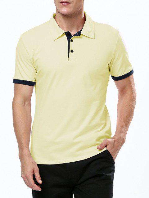 Refreshing Turn-down Collar Purfled Fitted Men's Short Sleeves T Shirt - YELLOW M