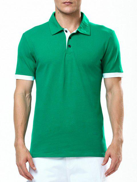 Refreshing Turn-down Collar Purfled Fitted Men's Short Sleeves T Shirt - GREEN M