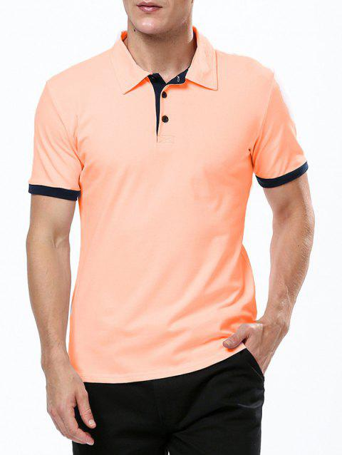 Refreshing Turn-down Collar Purfled Fitted Men's Short Sleeves T Shirt - ORANGE 2XL