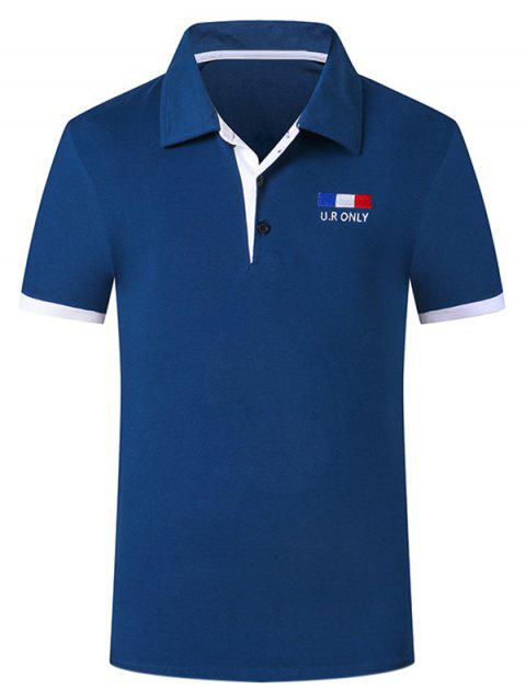 Manches courtes Trendy Collar Turn-down Purfled design Aménagée Men  's Polo T-Shirt - Bleu Saphir L