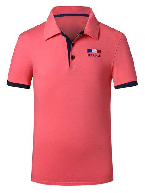 Trendy Turn-down Collar Purfled Design Fitted Men's Short Sleeves T Shirt - WATERMELON RED M