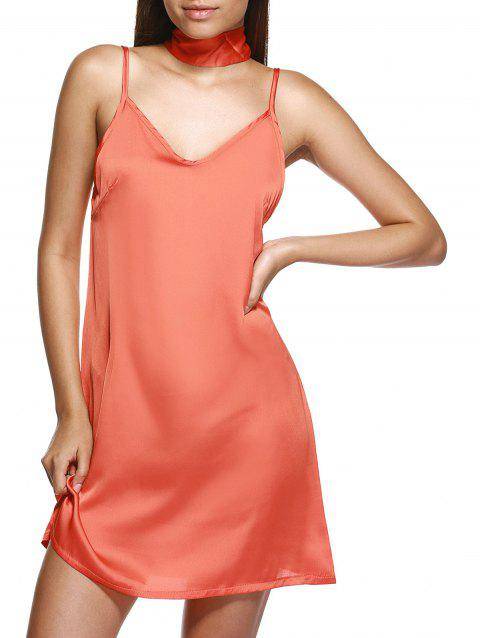 V Neck Mini Cami Slip Robe en satin - Orange XL