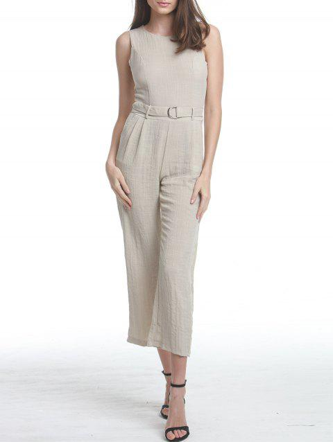 Premium Texture Jumpsuit with D-Ring Detail - LIGHT KHAKI S