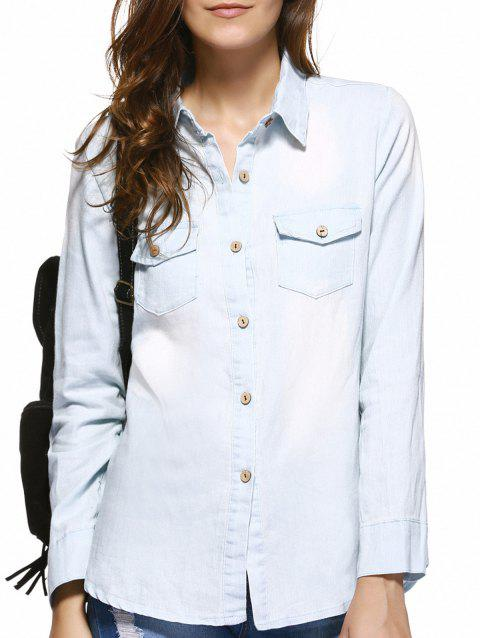 Poches Buckled Frayed Denim Shirt - Bleu Clair XL