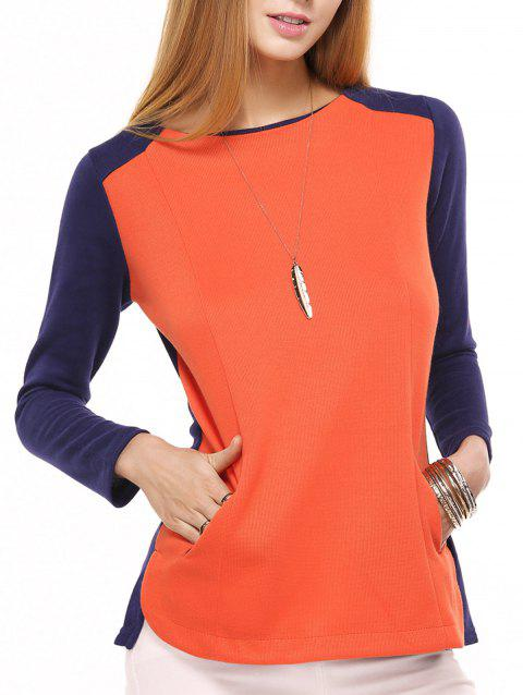 Double Pockets Design Long Sleeve Color Block T-Shirt - RED 2XL