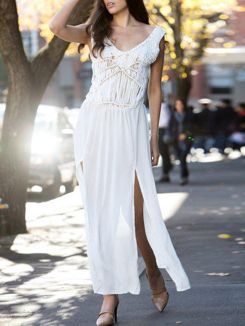Trendy V-Neck Sleeveless Lace Furcal Cover-Up For Women