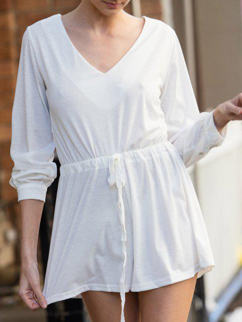 Stylish Plunging Neck Long Sleeve Drawstring Design Women's White Romper - WHITE XL