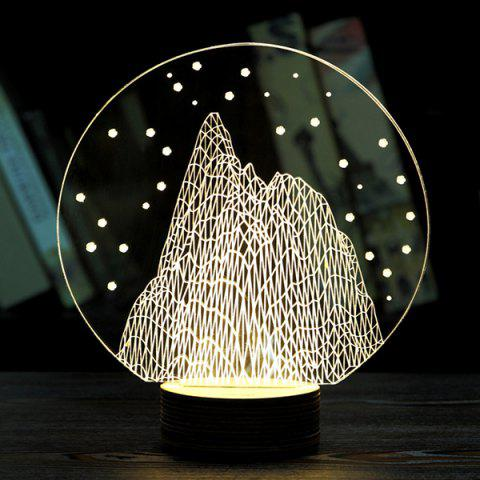 Stylish Home Decoration Round Shape Snow Mountain LED Night Light - LIGHT YELLOW