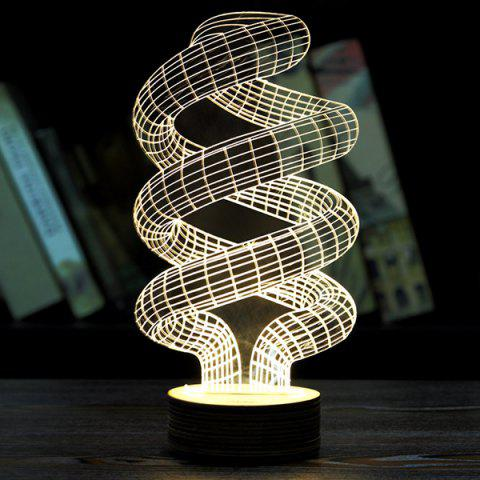 Novelty Home Decoration 3D Spiral Pipe Shape LED Night Light - LIGHT YELLOW