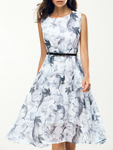 Jewel Neck Sleeveless Floral Print A Line Belted Dress - WHITE M