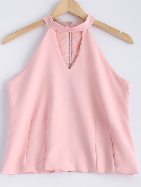 Stylish Women's Solid Color Jewel Neck Cut Out Zipper Fly Sleeveless Top - LIGHT PINK M
