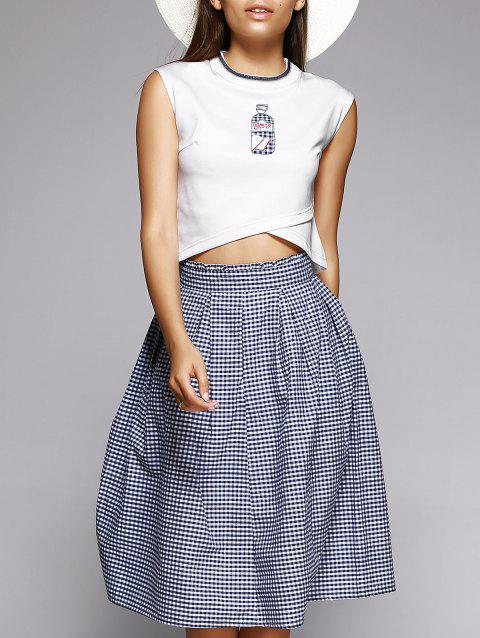 37146ca2676 17% OFF  2019 Overlap Crop Top and Plaid Skirt In COLORMIX L ...
