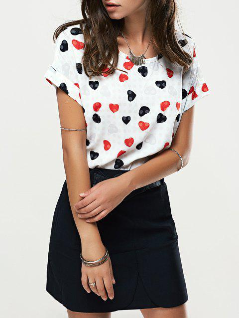 7407e318fa34f Chic Short Sleeve Heart Graphic T-Shirt + High-Waisted Black Skirt Women s  Twinset