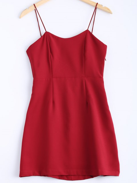 Stylish Women's Solid Color Spaghetti Strap Backless Cross Back Minidress - RED M