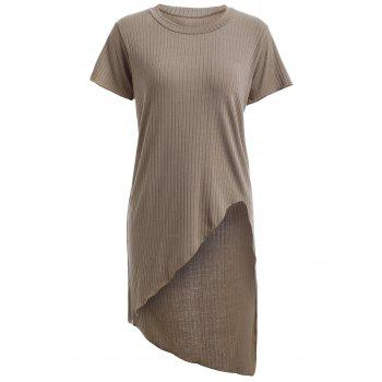 Trendy Short Sleeve Round Neck Solid Color Asymmetrical Women's T-Shirt