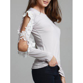 Stylish Spliced Three Quarter Sleeve Scoop Neck Hollow Out Women's T-Shirt