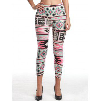 Chic High Waist Geometrical Print Hit Color Leggings For Women