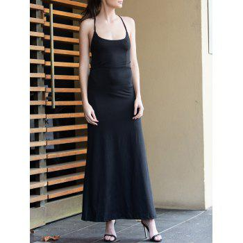 Black Spaghetti Strap Backless Split Maxi Dress