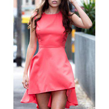 Trendy Solid Color Asymmetrical Sleeveless Dress For Women