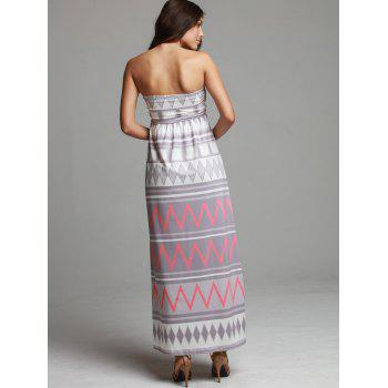 Maxi Geometric Print Strapless Bohemian Beach Dress - S S
