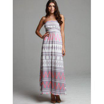 Maxi Geometric Print Strapless Bohemian Beach Dress - COLORMIX COLORMIX