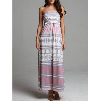 Bohemian Style Strapless Geometric Print Sleeveless Dress For Women - COLORMIX L