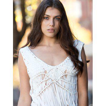 Trendy V-Neck Sleeveless Lace Furcal Cover-Up For Women - WHITE ONE SIZE(FIT SIZE XS TO M)