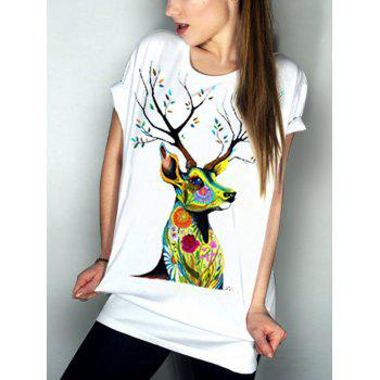Casual Elk Pattern Short Sleeve Round Neck Women's T-Shirt
