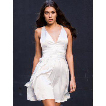 White Sleeveless Deep V Neck Flare Dress - WHITE M