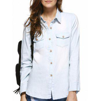 Pockets Buckled Frayed Denim Shirt - LIGHT BLUE LIGHT BLUE