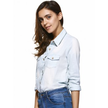 Pockets Buckled Frayed Denim Shirt - LIGHT BLUE XL