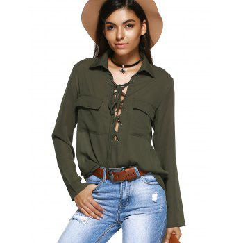 Front Pocket Lace-Up Long Sleeve Shirt - ARMY GREEN 2XL
