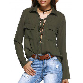 Front Pocket Lace-Up Front Shirt