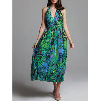 Bohemian Peacock Print Halterneck Dress For Women