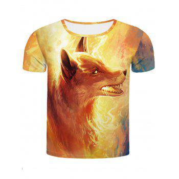 Cool Fire Fox 3D Printed Slimming Men's Round Neck Short Sleeves T-Shirt