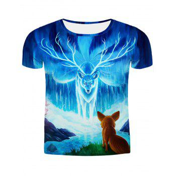 Hot Sale Round Neck 3D Animal Printing Slimming Men's Short Sleeves T-Shirt
