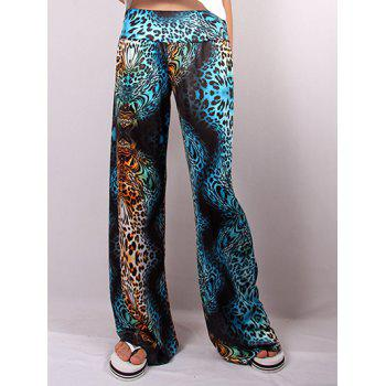 Hit Color Illusion Cheetah Print Wide Leg Pants