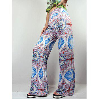 Flowy Printed Wide Leg Palazzo Pants - COLORMIX 2XL