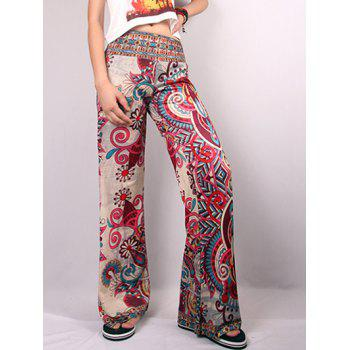 Hit Color Ethnic Floral Print Wide Leg Pants
