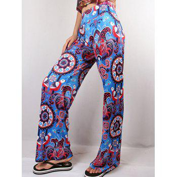 Hit Color Ethnic Jacquard Print Wide Leg Pants