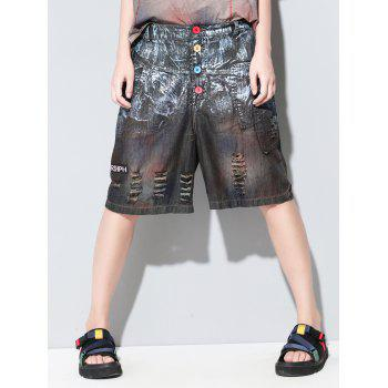 Fashionable Broken Hole Buttoned Pocket Design Women's Cropped Pants